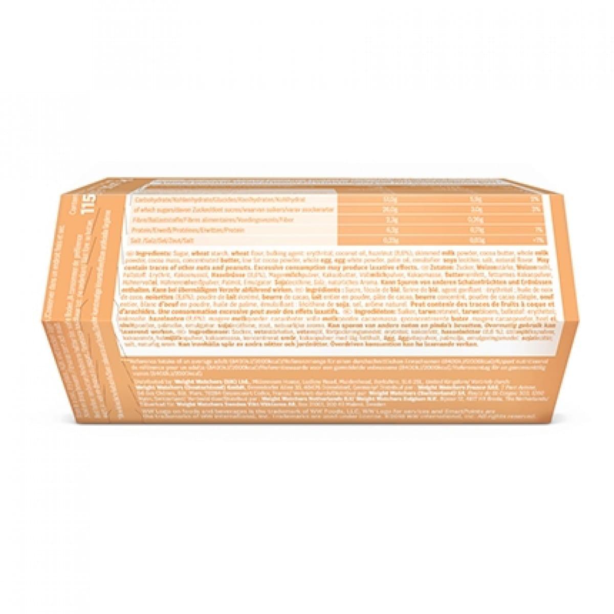 Achterzijde verpakking WW hazelnut chocolate sticks