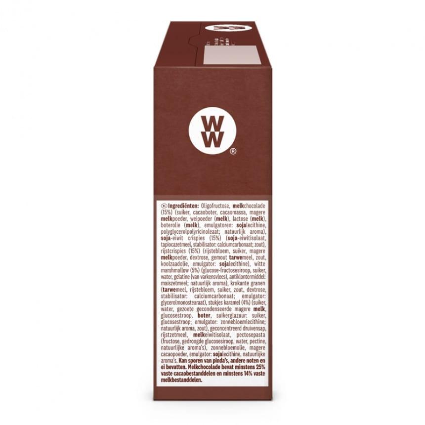 Zijkant verpakking WW toffee brownie bar