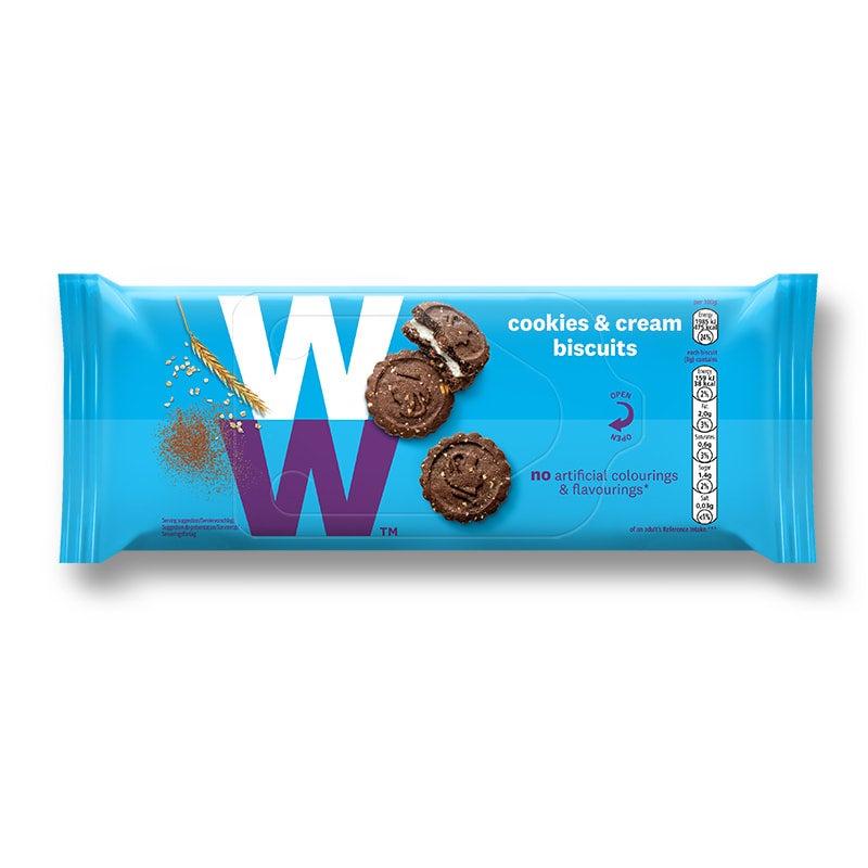 Een rol met 31 Cookies & Cream Biscuits van WW, choclade koekjes met een luchtige crème vulling