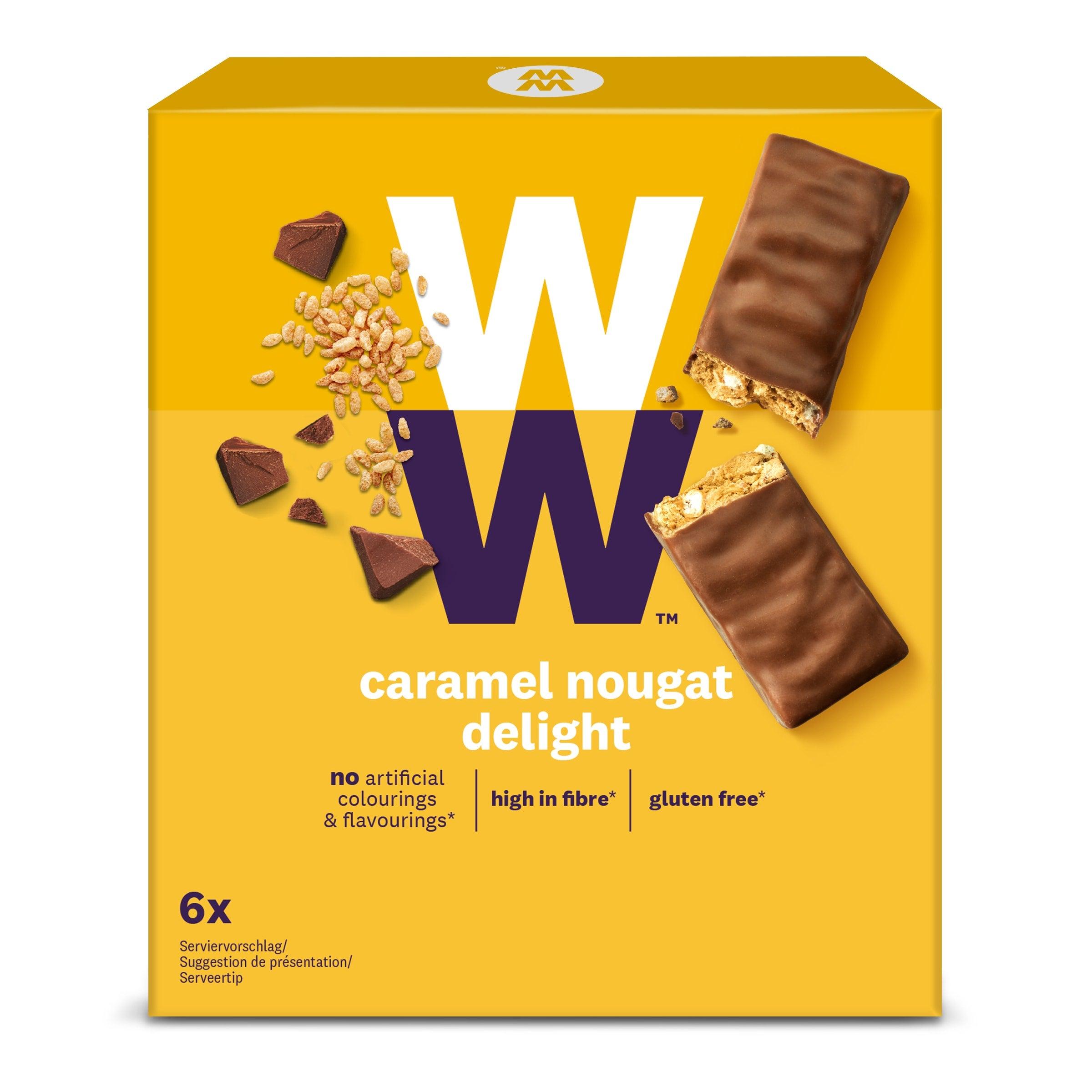 Een verpakking met 6 Caramel Nougat Delight repen van WW gemaakt van melkchocolade met een vulling van karamel en gepofte rijst