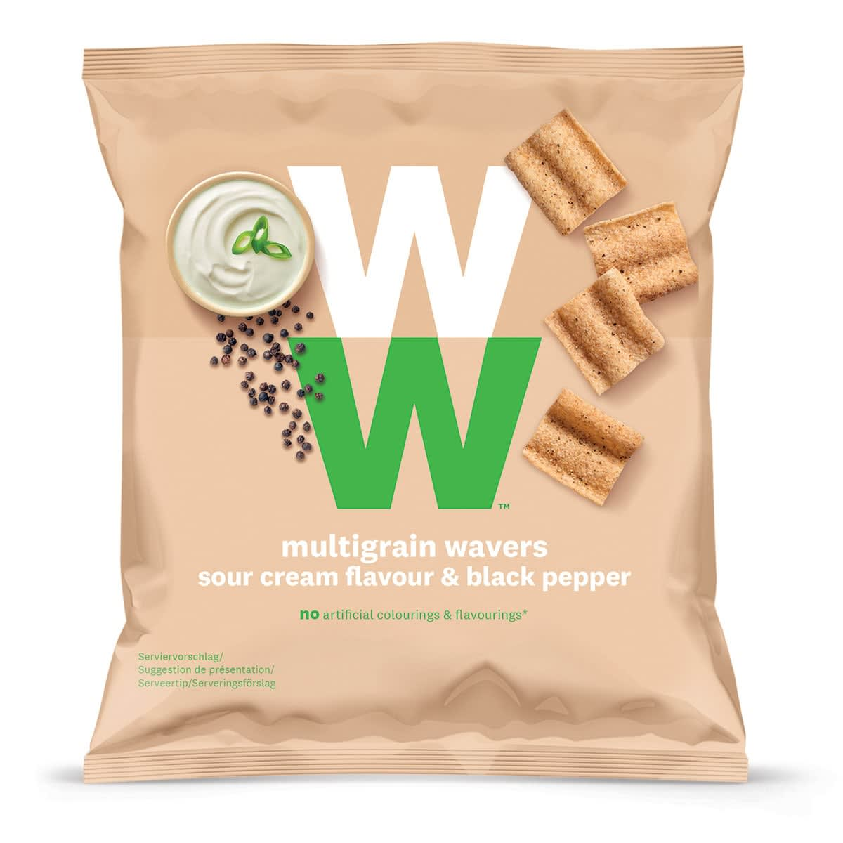 Een zak Meergranen chips van WW met de smaak van zure room en zwarte peper