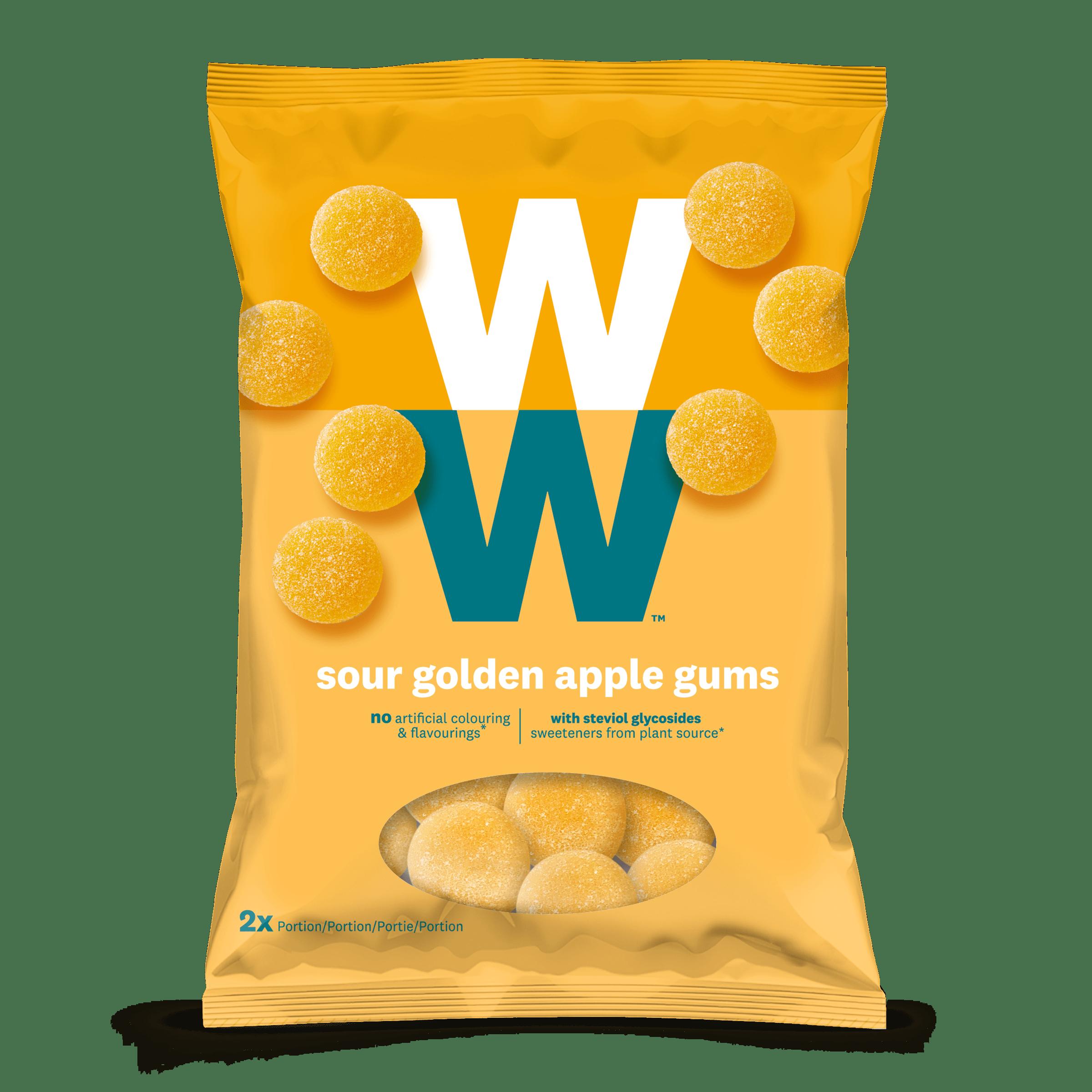 Een zak met 80 gram Sour Apple Gums van WW, zonder kunstmatige kleur en smaakstoffen