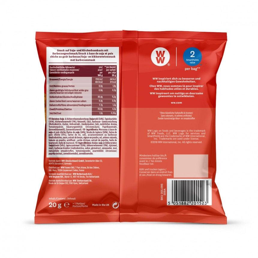 Achterzijde verpakking WW BBQ chips 5 + 1 gratis