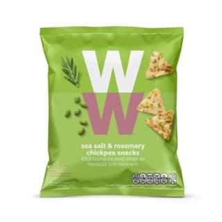 Een zak met 22 gram  Bean & Rosemary Chips van WW met kikkerewten, erwten, bonen en rozemarijn