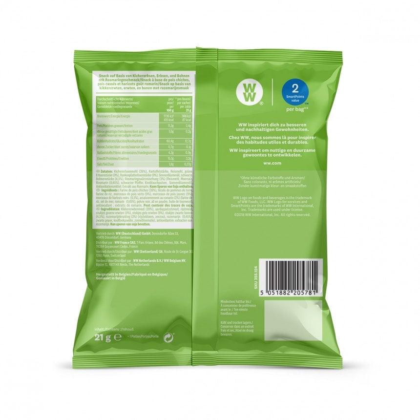 achterzijde verpakking WW Bean and rosemary chips snack