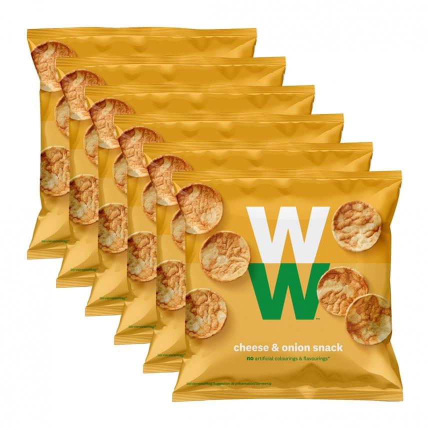 Verpakkingen WW chees and onion chips 5 + 1 gratis