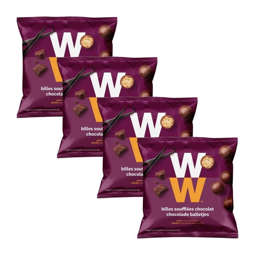 Verpakking WW chocolade balletjes 3 + 1 gratis