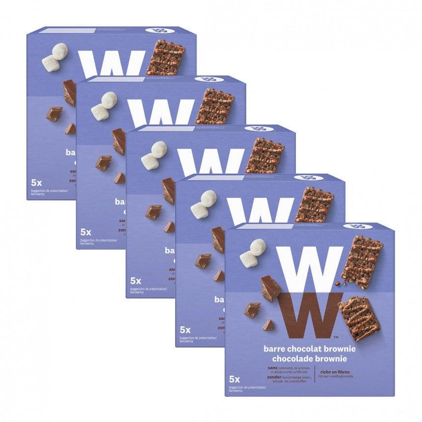 Verpakkingen WW chocolade brownie mueslireep 4 + 1 gratis