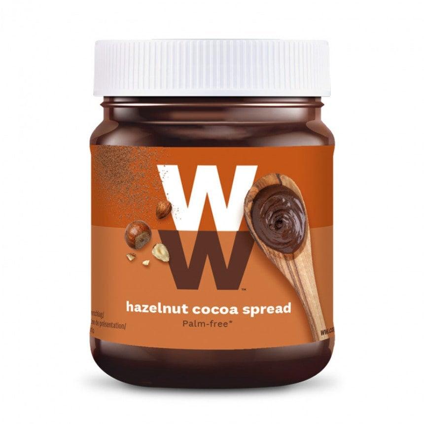 Een pot met 200 gram Chocolade Hazelnootpasta van WW