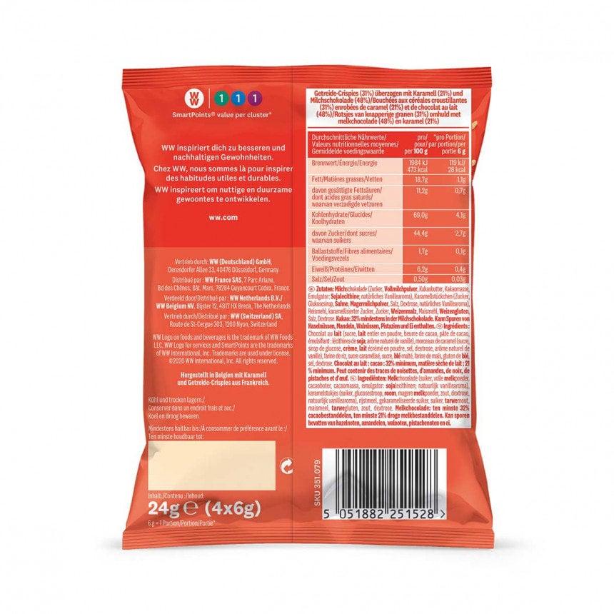 Achterzijde verpakking WW chocolade caramel rotsjes