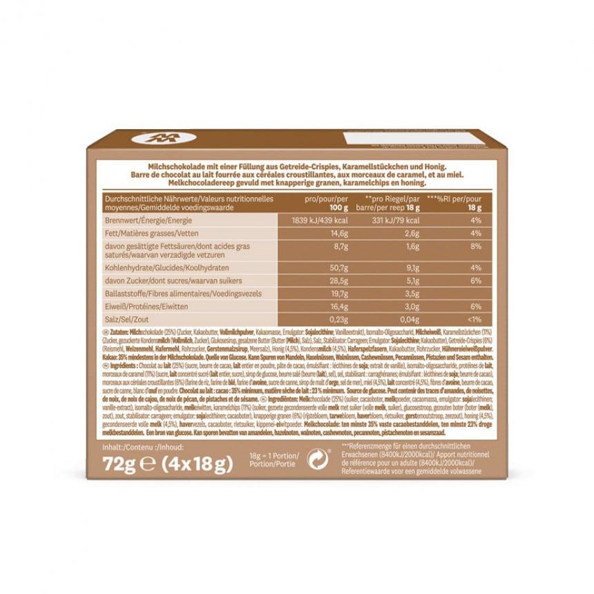 Achterzijde verpakking WW chewy chocolate bar
