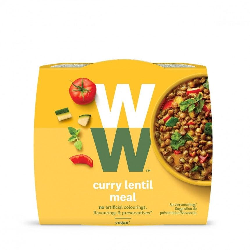 Een portie Curry Lentil Meal van WW met linzen, courgette, paprika en tomaat van 280 gram