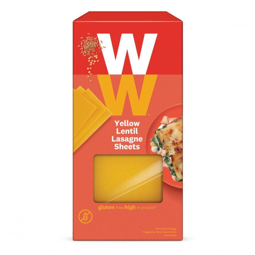 Een pak van 250 gram Gele Linzen Lasagne van WW gemaakt van gele linzen en volkoren rijstebloem