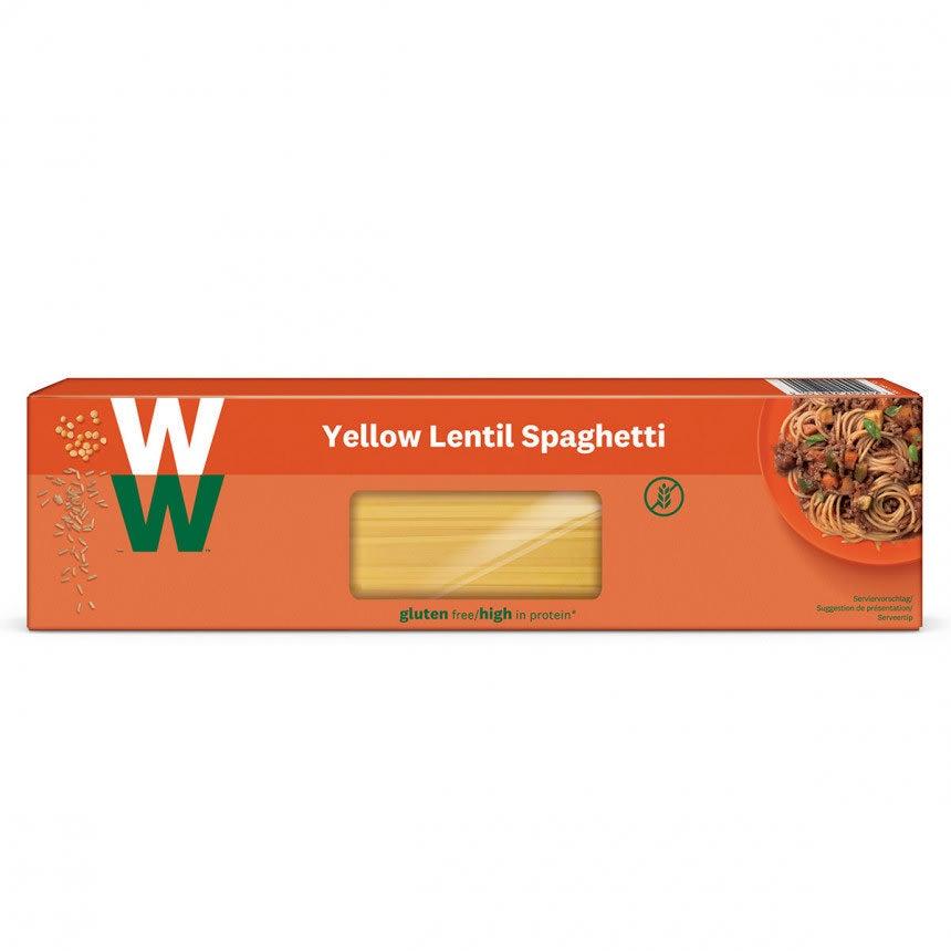 Een pak van 250 gram Gele Linzen Spaghetti van WW gemaakt van gele linzen en volkoren rijstebloem