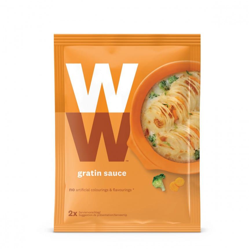 Een zakje Gratin saus van WW, goed voor 2 porties saus