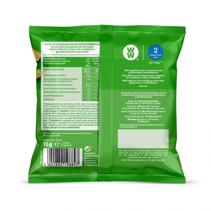 Achterzijde verpakking WW groente chips 5 + 1 gratis