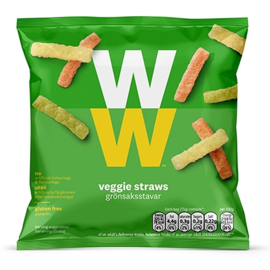 Een zak Veggie Straws Groentechips van WW op basis van aardappelen en groente