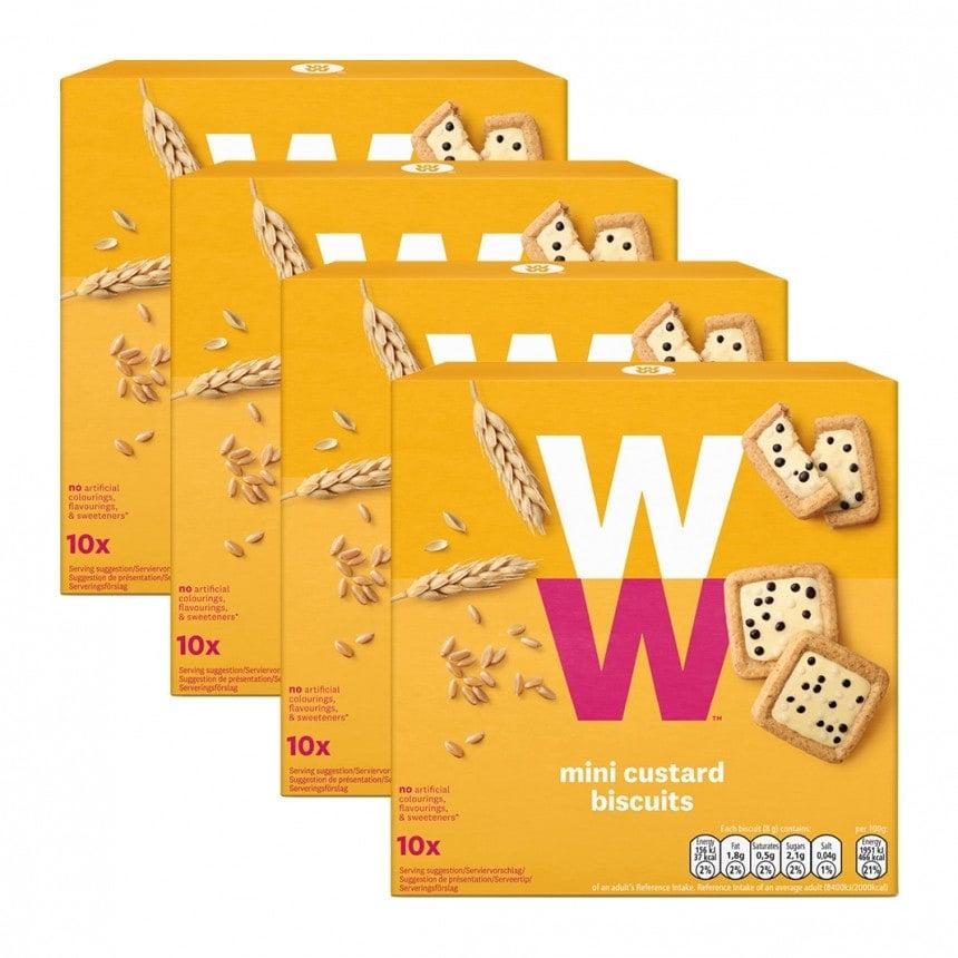 Verpakkingen WW mini custard biscuits 3 + 1 gratis