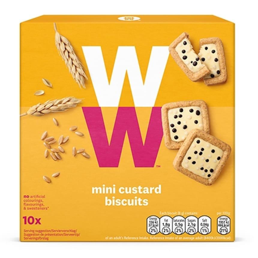 Een doosje Mini Custard Biscuits van WW met 10 meergranenkoekjes met vanillecrèmevulling