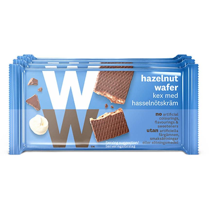 Een verpakking met 4 Nutty Break Hazelnootwafels gevuld met hazelnootcrème van WW