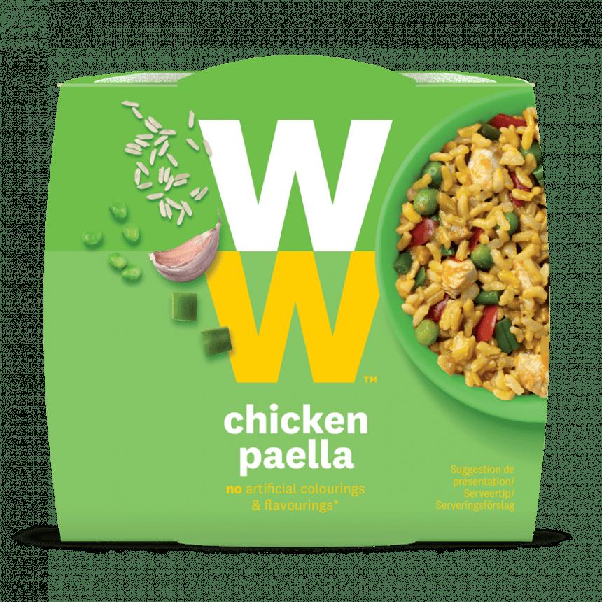 Een portie Paella met Kip van WW met volkoren rijst, groenten, geroosterde kip, gekruid met natuurlijke aroma van 280 gram