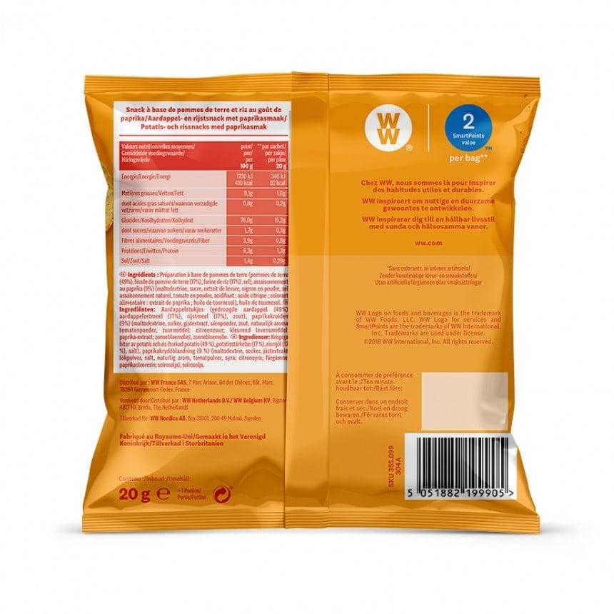 Achterzijde verpakking WW paprika chips snack