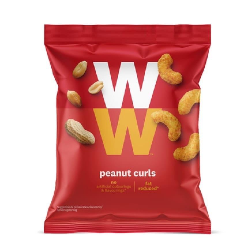 Een zak Peanut Curls van WW met 19 gram zoute pinda's, laag in vet en zonder kunstmatige kleur en smaakstoffen