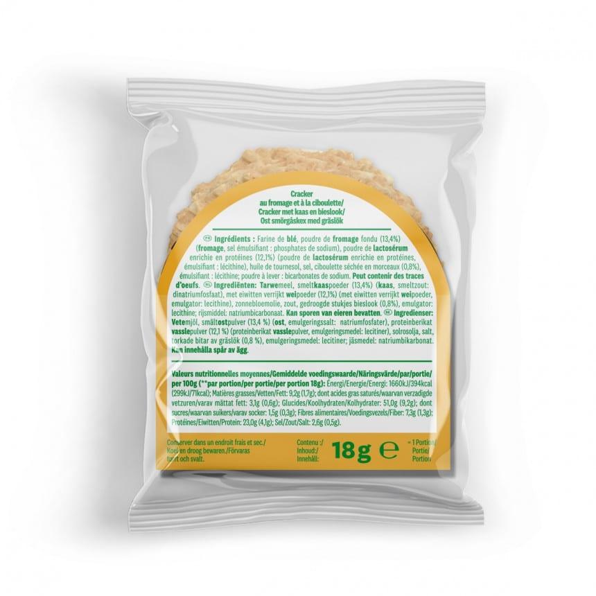 Achterzijde verpakking WW proteine kaas crackers