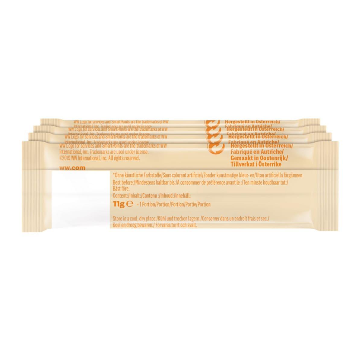 Achterzijde verpakking WW proteine chocolade hazelnoot reep