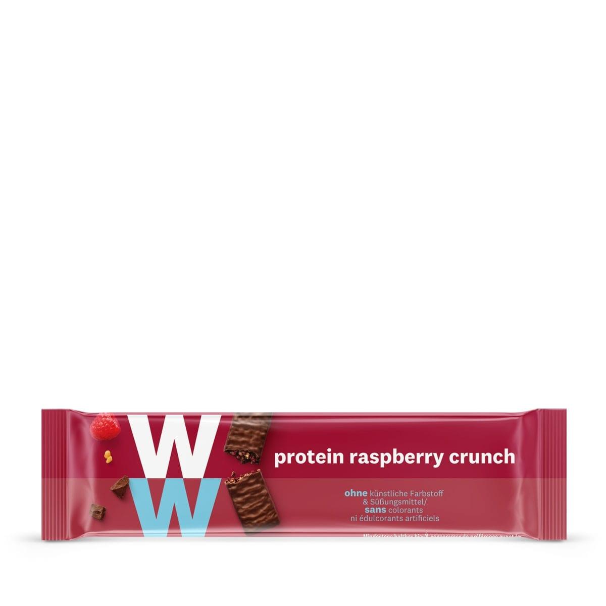 Een WW proteïnereep van 23 gram met melkchocolade en frambozen, rijk aan eiwitten