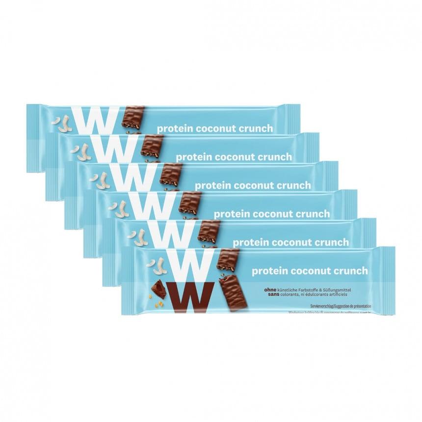 Verpakkingen WW proteine kokos chocolade reep 5 + 1 gratis