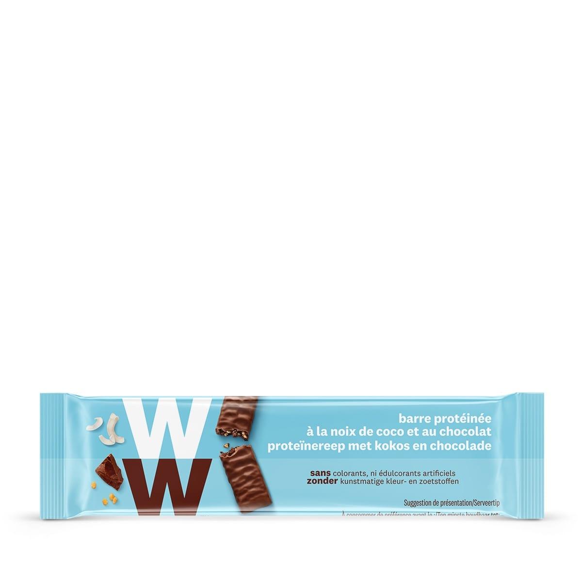 Een WW proteïnereep van 21 gram met melkchocolade en kokos, rijk aan eiwitten