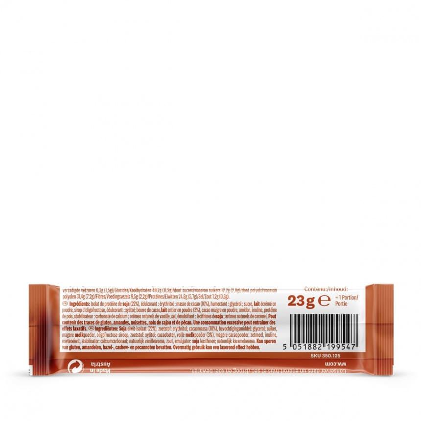 Achterzijde verpakking WW proteine reep met melkchocolade