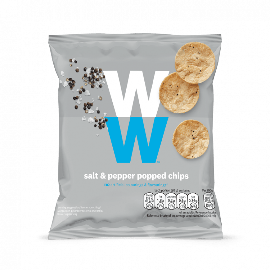 Verpakking WW Salt and pepper popped chips snack