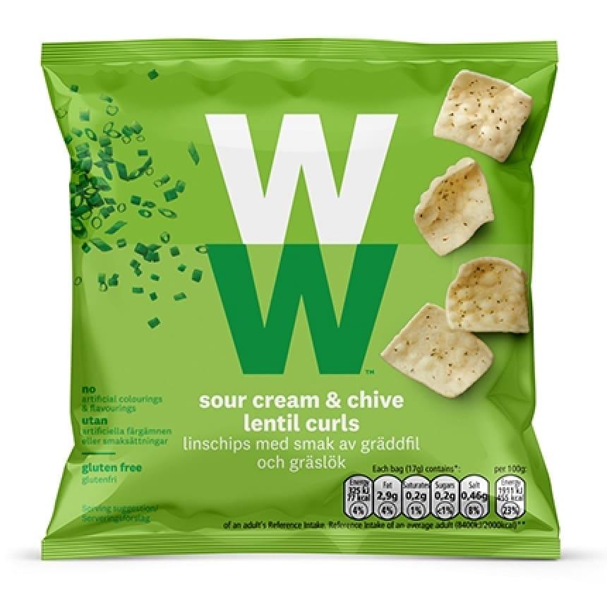 Verpakking WW Sour cream and bieslook chips snack