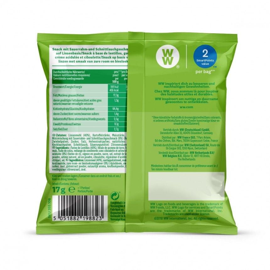 Achterzijde verpakking WW sour cream and bieslook chips snack