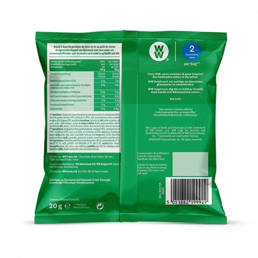 Achterzijde verpakking WW Sour cream and union chips