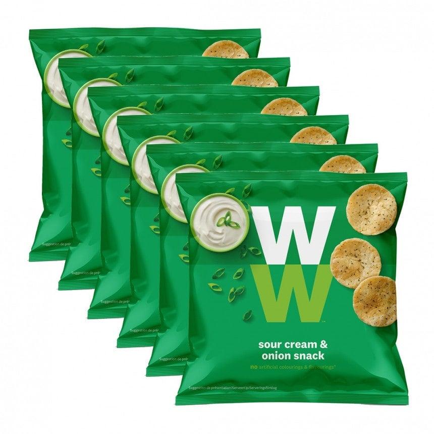 Verpakkingen WW sour cream and onion 5 + 1 gratis