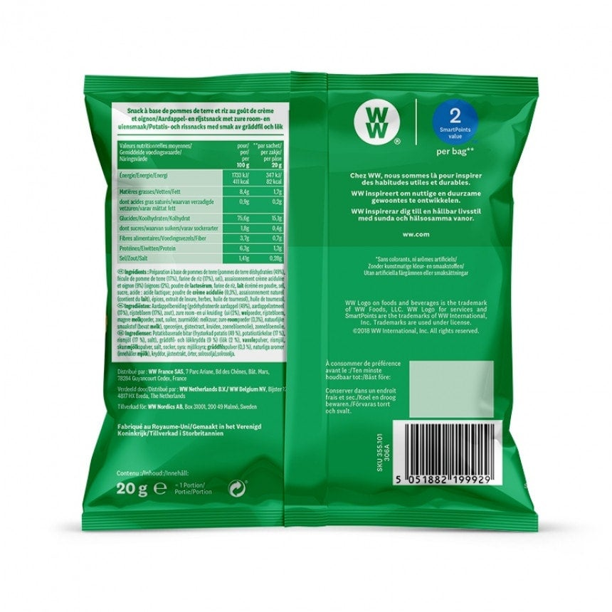 Achterzijde verpakking WW Sour cream and union chips 5 + 1 gratis