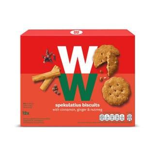Een doosje Speculaas Biscuits van WW met 12 speculaaskoekjes