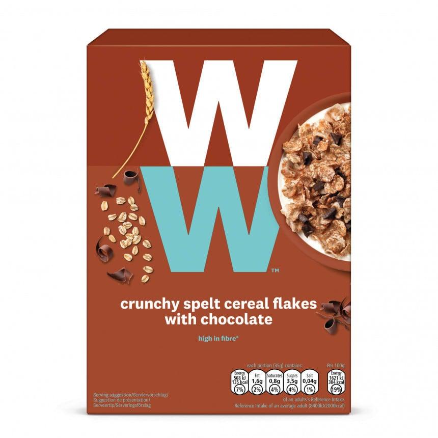 Een doosje met 400 gram Krokante Spelt Muesli met Chocolade van WW