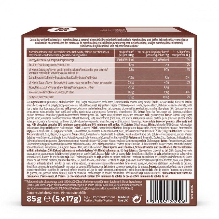 Achterzijde verpakking WW toffee sticky toffee brownie bar