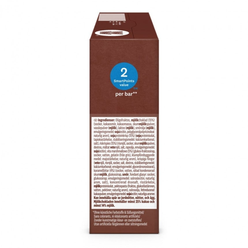 Achterzijde verpakking WW toffee brownie bar