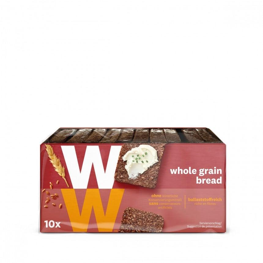 Een pak Volkoren Roggebrood van WW met 10 porties van 2 plakken, noten en zuivelvrij