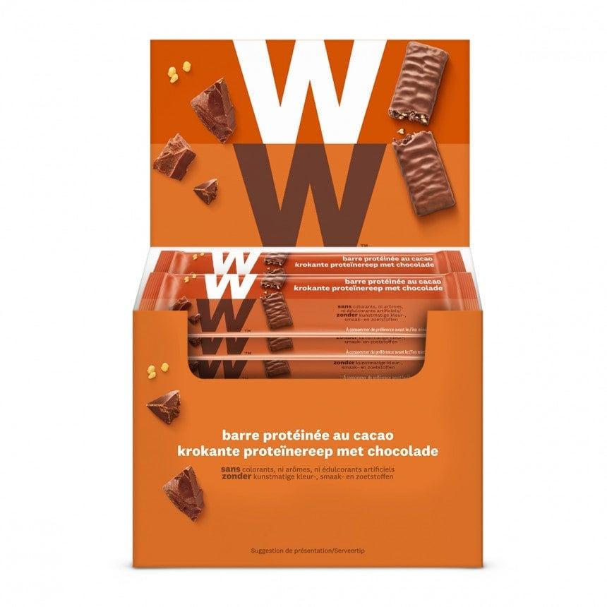 Doos met WW volume voordeel 24 proteine melkchocolade repen