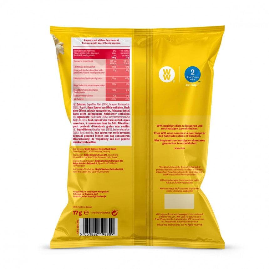 Achterzijde verpakking WW zoet popcorn 5 + 1 gratis