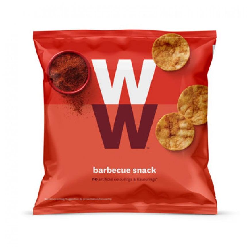 Een zak BBQ chips van WW op basis van kikkererwten en soja