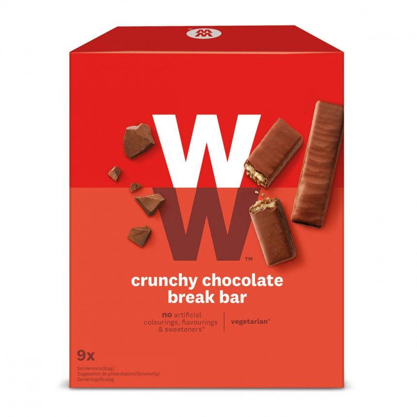 Een verpakking met 9 Crunchy Chocolate Break Bar van WW, dubbele chocoladerepen gevuld met een knapperige wafel