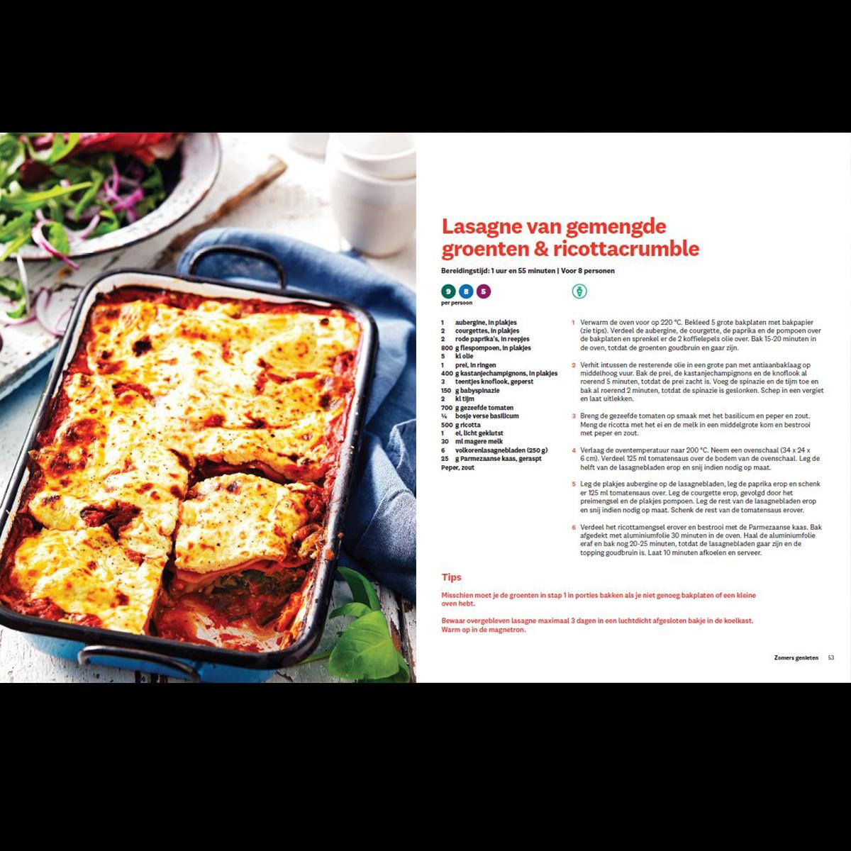 Zomers genieten lasagne van gemengde groenten & ricottacrumble