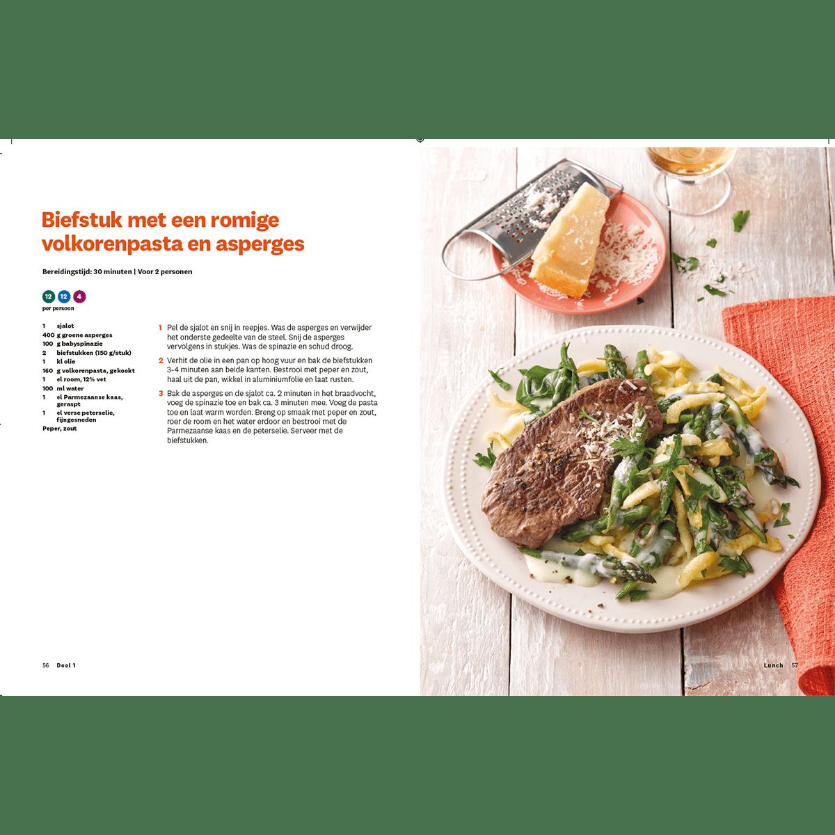 Programmakookboek deel 1 biefstuk met een romige volkorenpasta en asperges